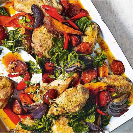 Chicken and chorizo traybake