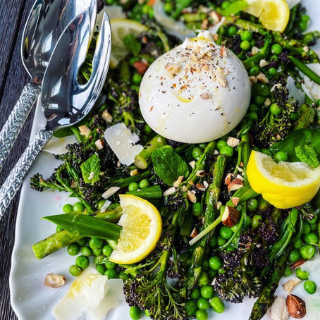 Purple sprouting broccoli, charred asparagus and pea salad
