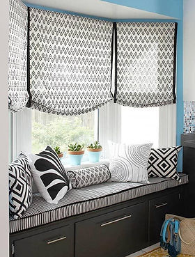 black and white bay window seat