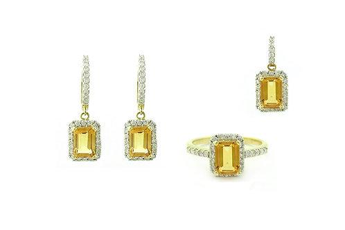 Yellow Topaz Diamond Set