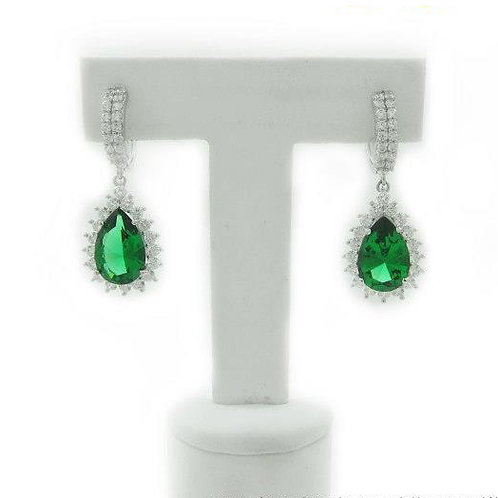 Green CZ Drop Earrings