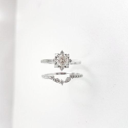 Polaris halo diamond & Half eternity ring