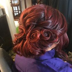 Today's little masterpiece #updo #wedding #bridesmaid #weddinghair #bridesmaidhair #hair #formalhair #formalstyle #curls #bridalhair #firemo