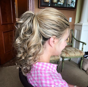#updo #weddinghair #bridesmaid #bridalhair #prismsalon #curls #ponytail #formalhair #wedding