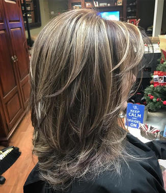 #highlights #lowlights #haircut #haircolor #hair #dimension #behindthechair #modernsalon #redlowlights #layeredhair #blonde