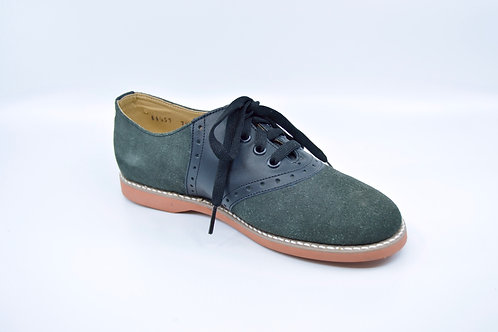 Ladies Kesco Grey/Blk Suede Saddle Oxford