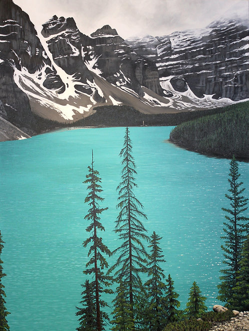 Black Spruce Trees Over Moraine Lake