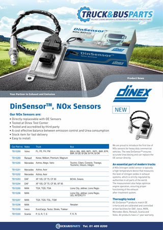 We are proud to introduce the first line of NOx sensors for heavy