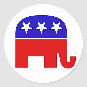 republican_elephant_round_sticker-r7a950