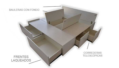 Cama con cajones Frontales Krear Design
