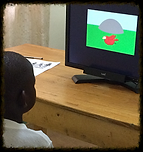 Child using Tobii eye tracker