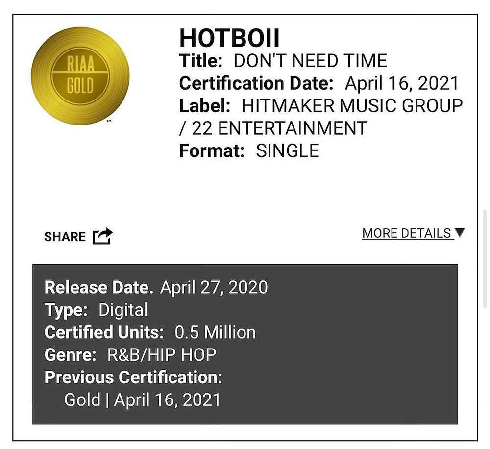 Don't Need Time by Hotboii Certified Gold