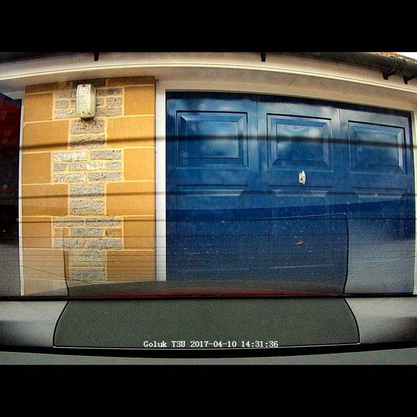 Goluk T3 Rear Camera install in a Tesla Model S P85D, actual camera image