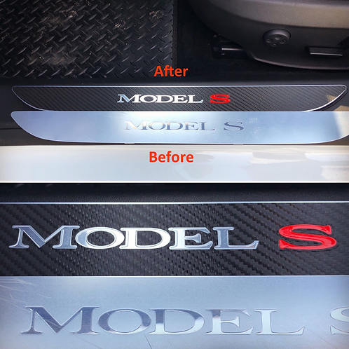 Tesla Model S Front Door Sill Wrap - Carbon Fibre effect - 1 Pair