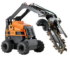 John telfer mini diggers mini loader carries out stump grinding and works as a trench digger for plumbing preparation.