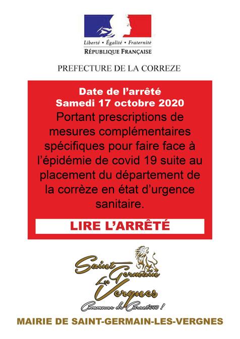 ARRÊTÉ PREFECTORAL DU 17 OCTOBRE 2020 - 2
