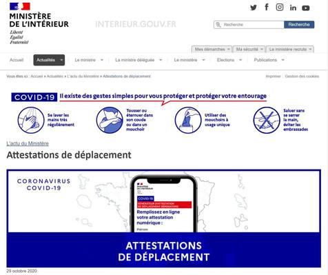 ATTESTATIONS DE DEPLACEMENT - COVID 19 - 29 OCTOBRE 2020