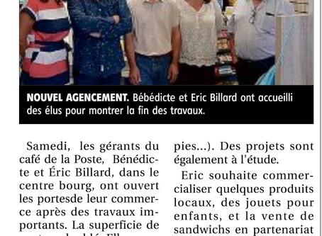 Article de La Montagne du 15/09/2020 - Café de la Poste