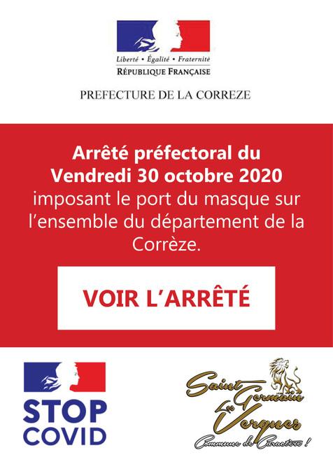 ARRÊTÉ PREFECTORAL DU 30 OCTOBRE 2020 - COVID 19