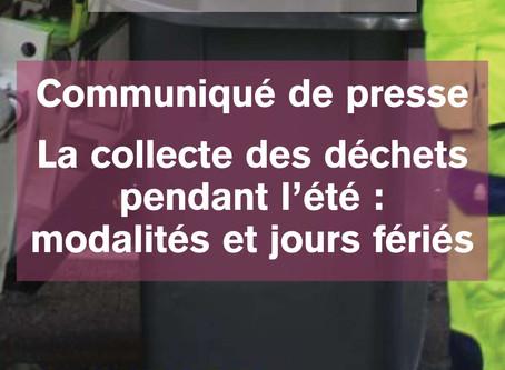 Communiqué de presse de Tulle Agglo. Collecte des déchets pendant l'été.
