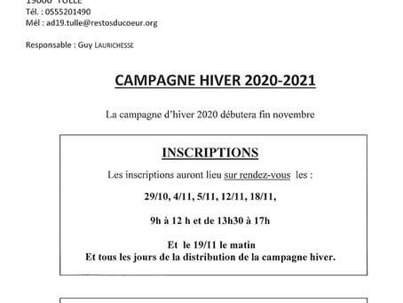LES RESTAURANTS DU COEUR - CAMPAGNE 2020-2021
