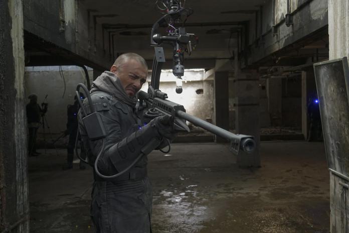 Director Patrick Boivin prepping a shot.