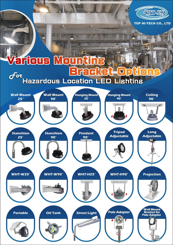 Various Mounting Bracket Options for Hazardous Location Lighting