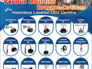 Various Mounting Bracket Options for Hazardous Location Lighting