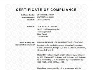 UL Class I, Division 1 & Class II, Division 1 certification