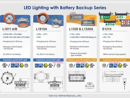 新產品! 防爆&備源LED燈L1811A/B,可提供2小時緊急照明!