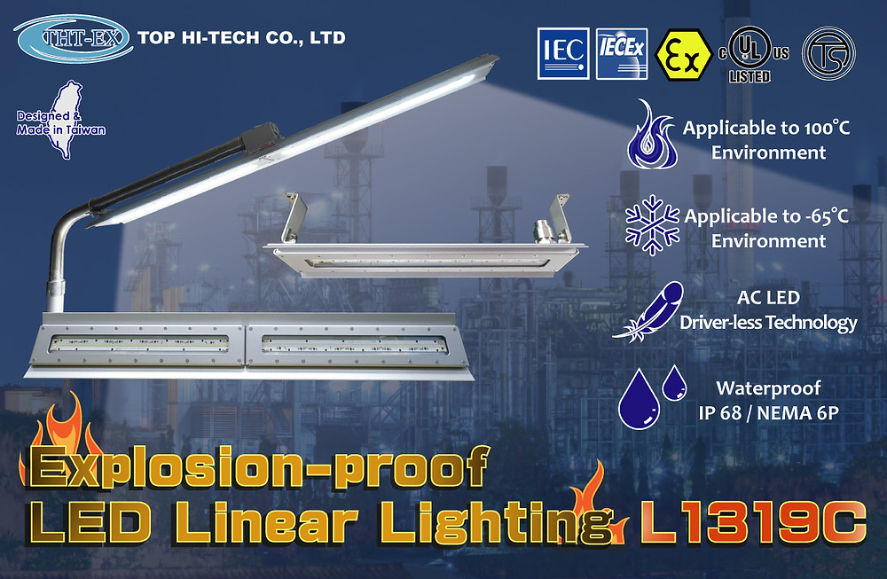 Explosion proof LED Linear Lighting L1319C for hazardous areas.