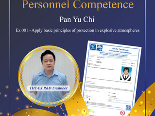 Celebrating! THT-EX has one more engineer received IECEx competence recognition!