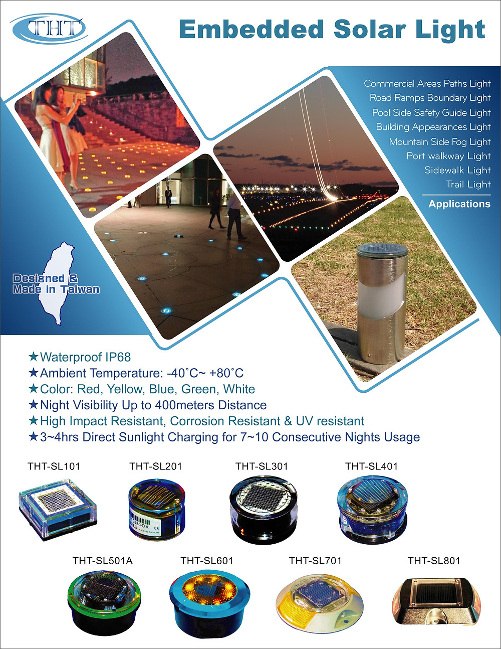 Embedded Solar Lights for Outdoor Aesthetic & Route Safety Guide Illumination.