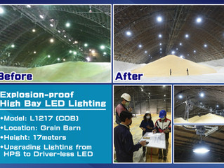 """Field Installation of Explosion-proof LED Lighting in Grain Barn - """"Before & After""""  Comparison"""