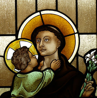 St Anthony of Padua stained glass window