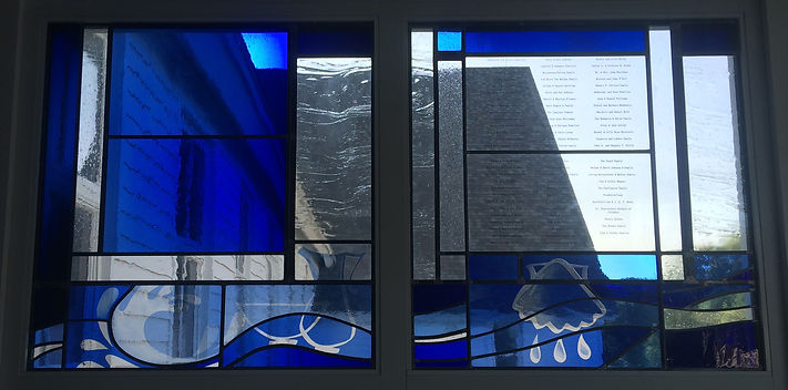 memorial art glass donor wall