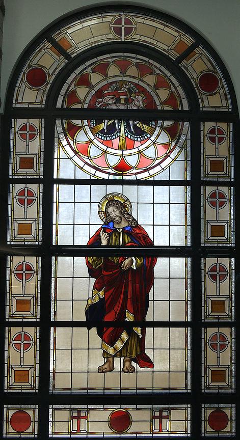 traditional painted jesus church window