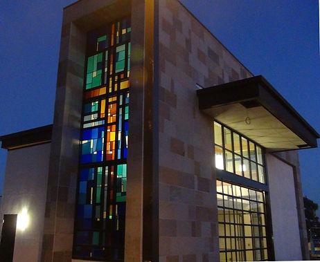 church cross architectural art glass window