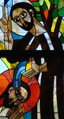 contemporary baptism of jesus church window