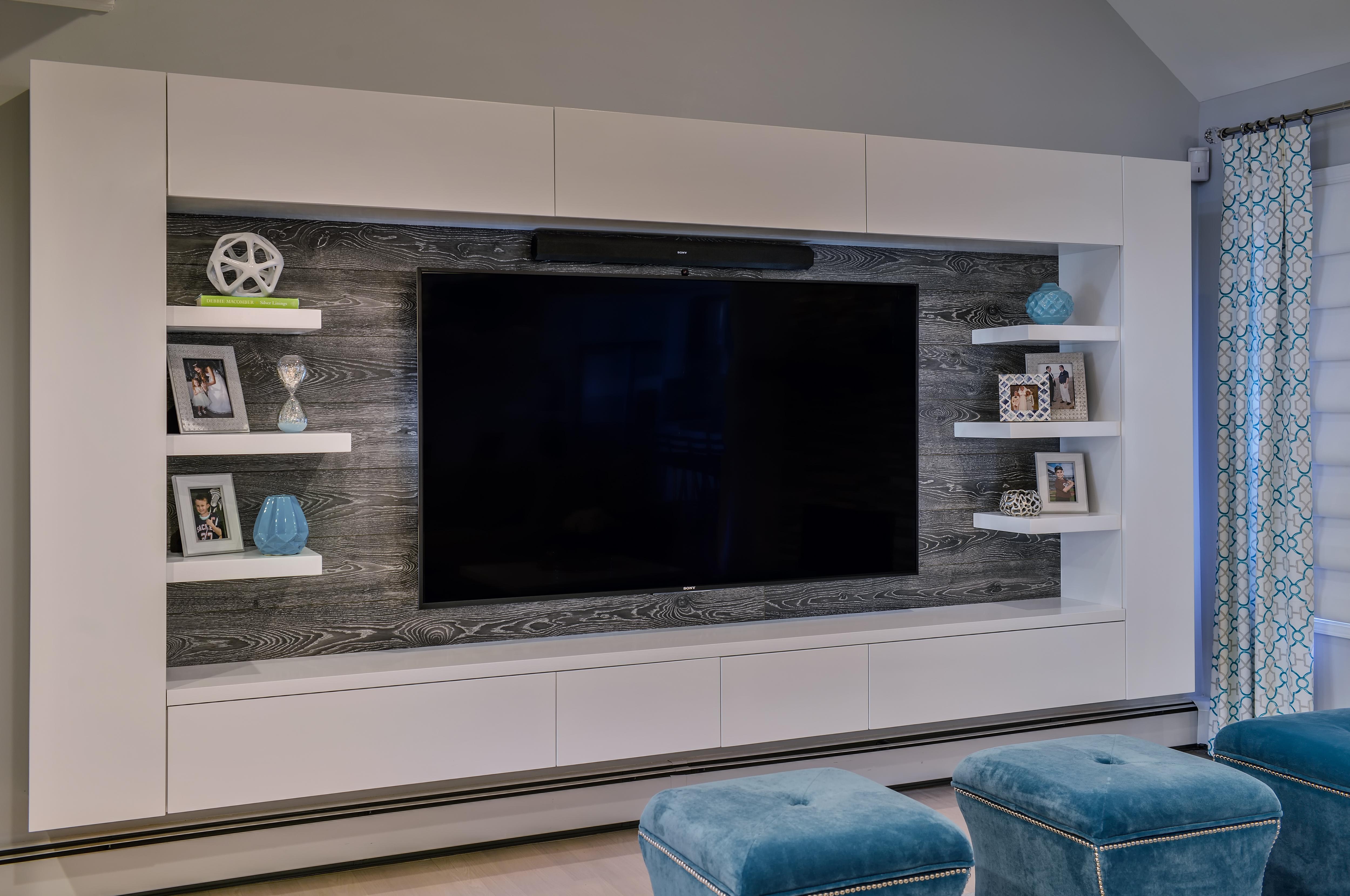 Custom wood tv wall mounted unit