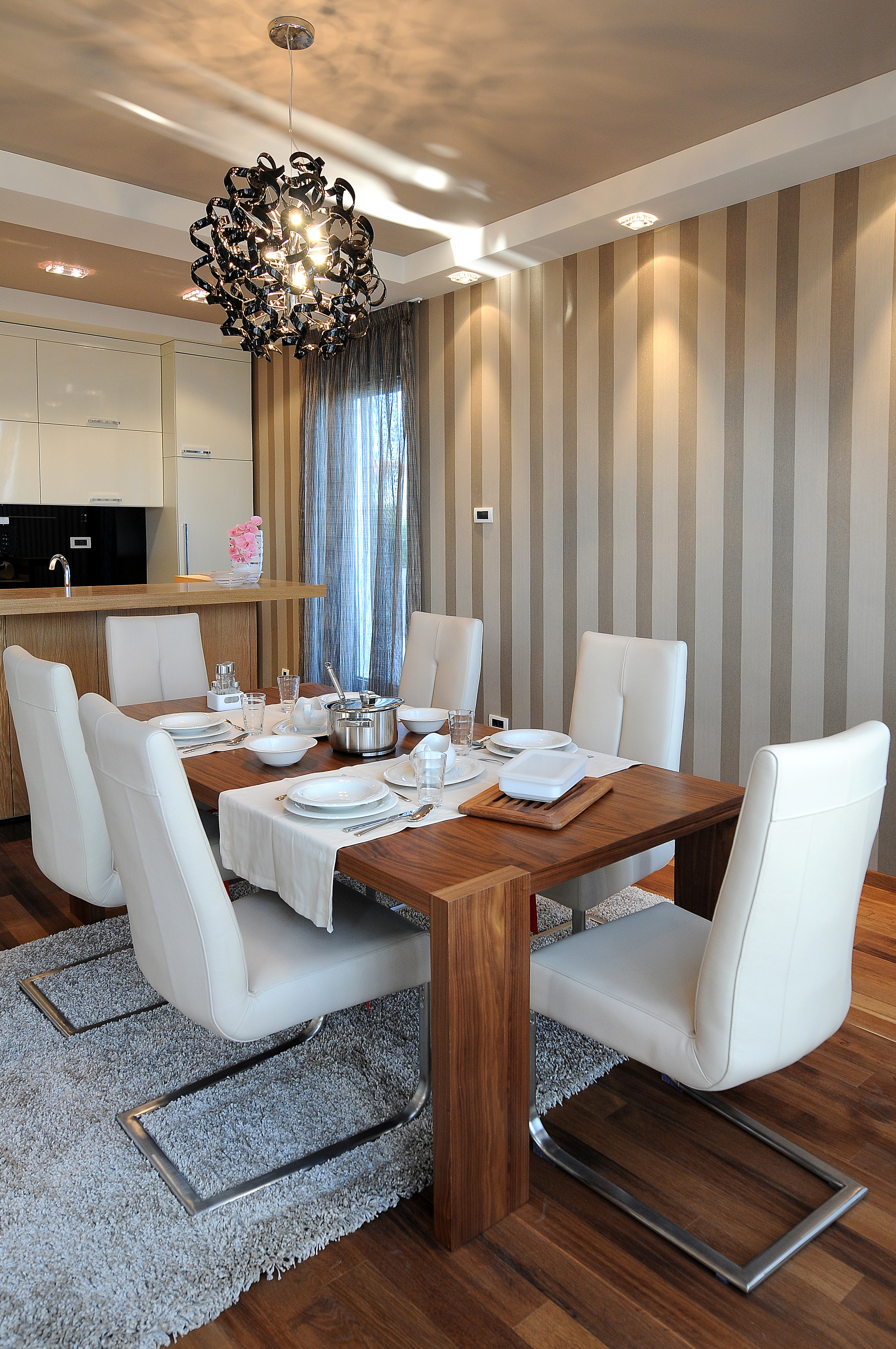 Dining Room set with new Chandelier