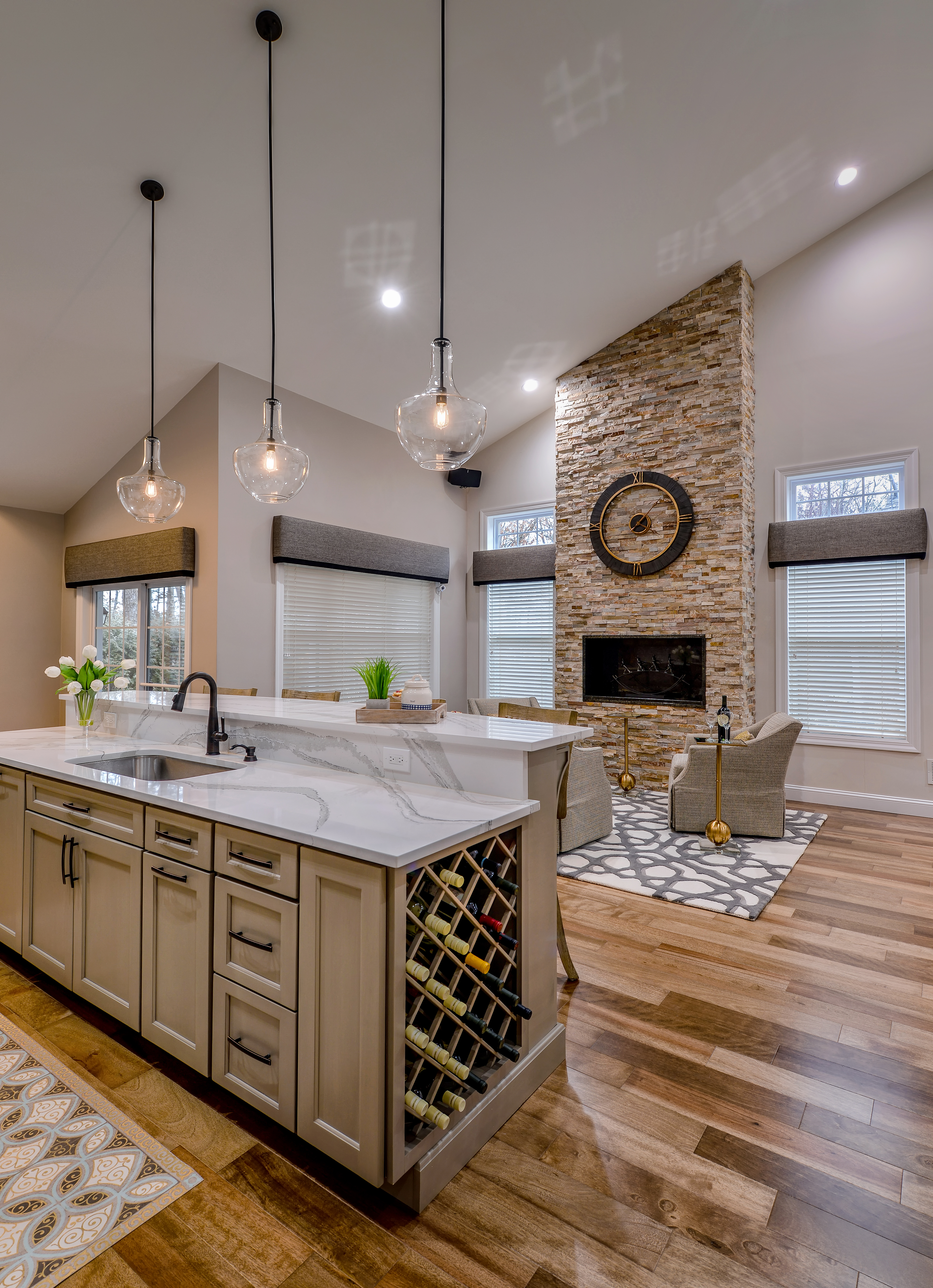 Fireplace Area & Kitchen