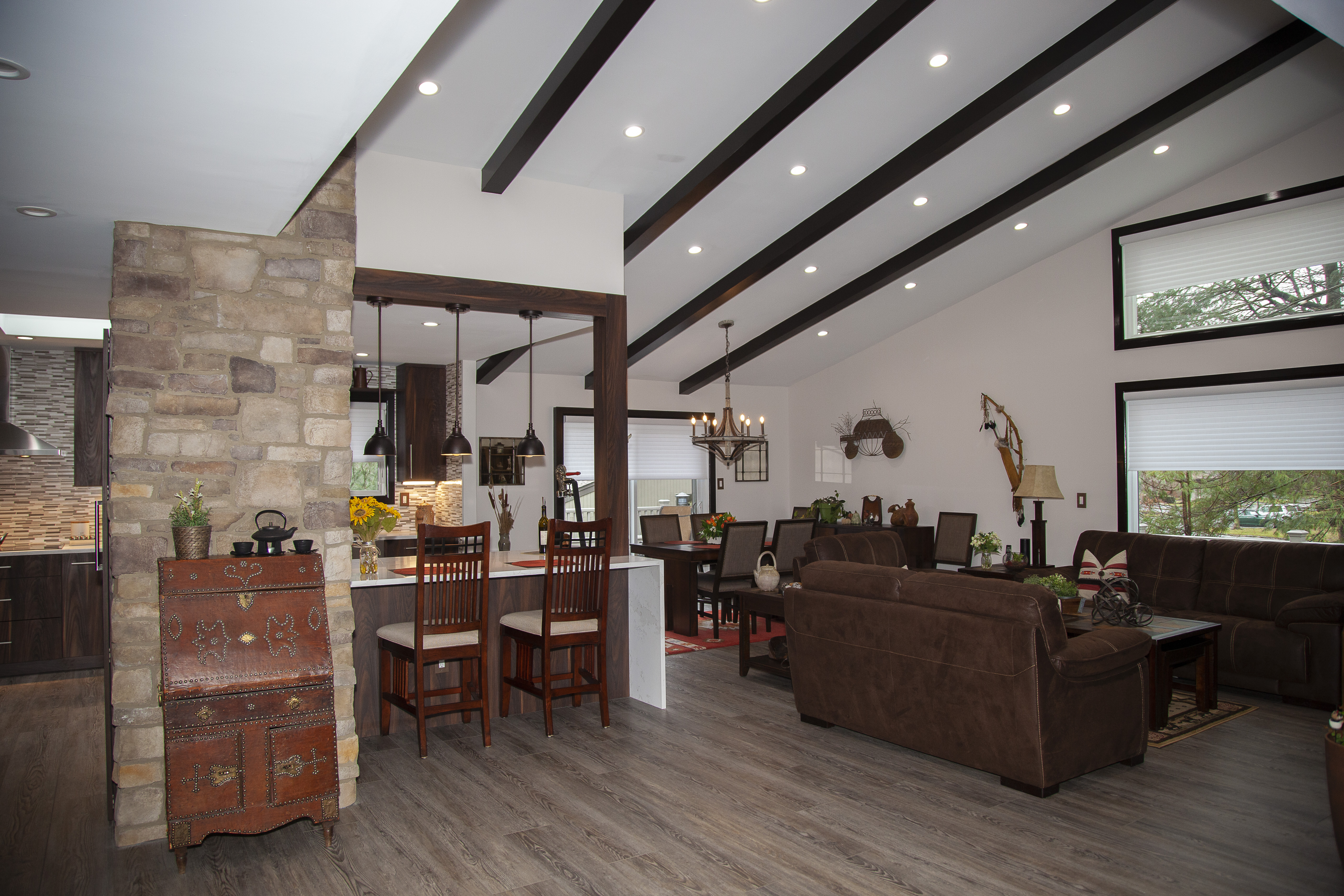 Open Layout with faux beams