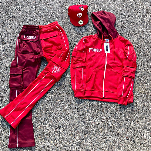 Red 2-Toned Stacked Tracksuit