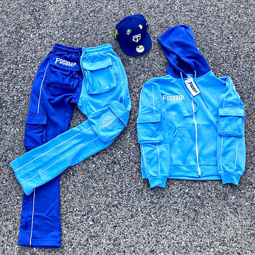 Blue 2-Toned Stacked Tracksuit