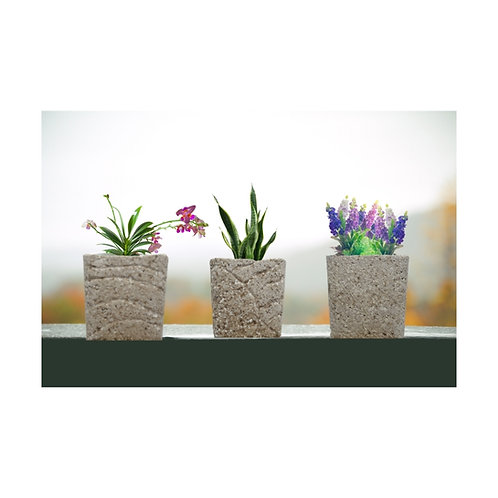 Small & Tall Square Pot. Light Weight Natural Stone Look & Feel
