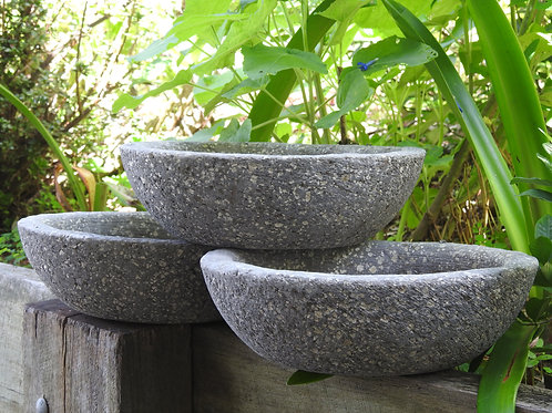 Shallow Round Bowl. Light Weight Natural Stone Look & Feel.