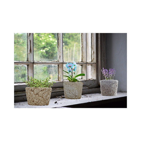 Small  Round  Midi Pot - Natural Stone Look and Feel - Light Weight