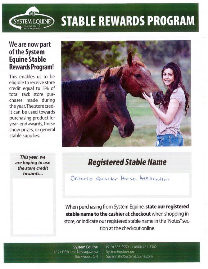 System Equine - Stable Rewards Program