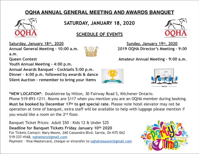 New Location for Awards Banquet & AGM!
